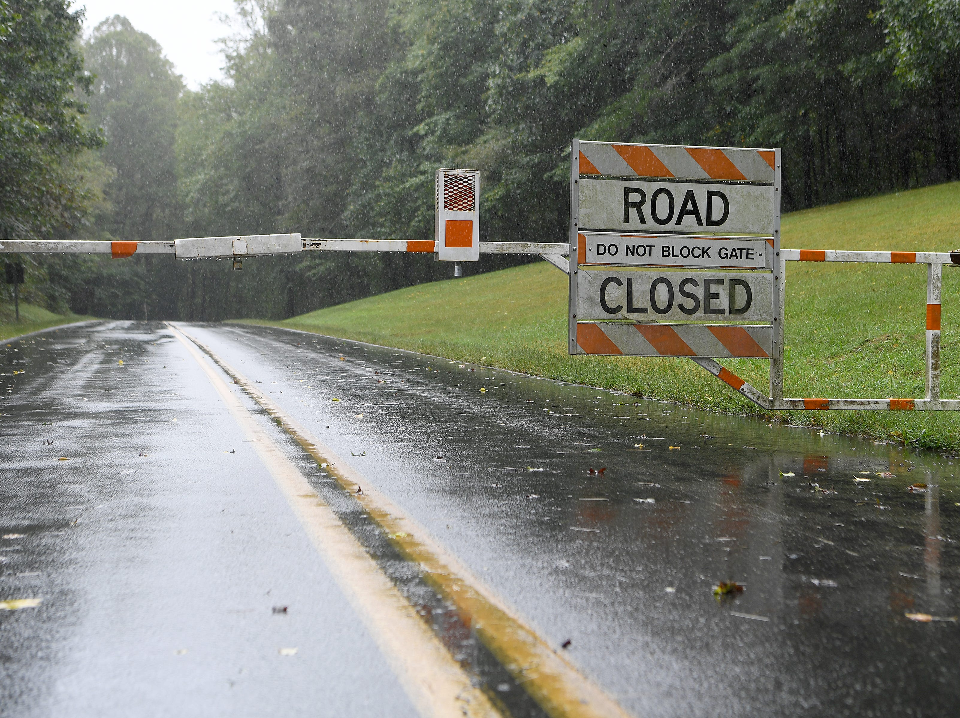 A gate blocks the Blue Ridge Parkway on Sept. 16, 2018. The entire parkway was closed ahead of the area being hit by the effects of Hurricane Florence, now downgraded to a tropical depression.