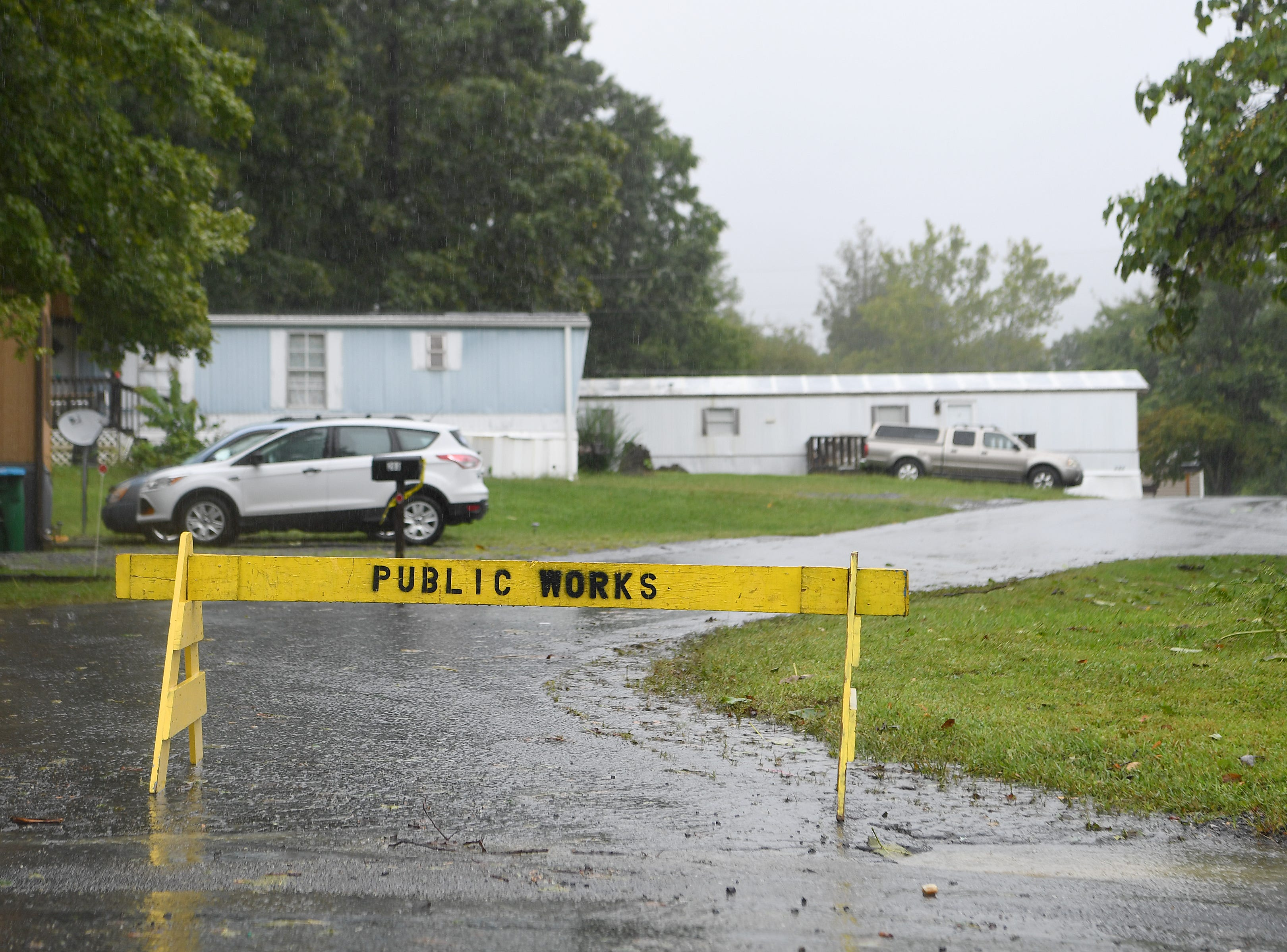 Some residents of the Portman Villas Mobile Home Park in Black Mountain were evacuated as Flat Creek began to flood into the park on Sept. 16, 2018.