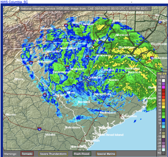 National Weather Service radar at 8:15 p.m. Sept. 15, 2018