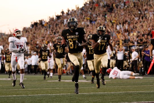 Western Michigan receiver Jayden Reed (87) returns a punt 93 yards for a touchdown against Delaware State at Waldo Stadium in Kalamazoo on September 15, 2018.