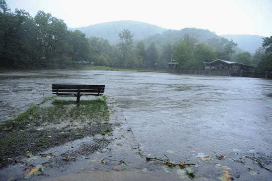 Lake Susan in Montreat is nearly filled to capacity after being nearly empty before Tropical Depression Florence began dumping rain on the Swannanoa Valley.