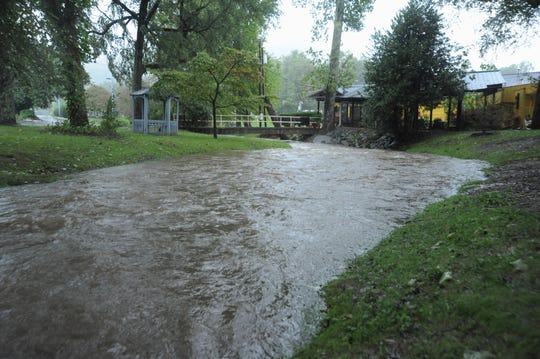 Flat Creek, which flooded at the end of May, begins to rise on Sept. 16 as rain from Tropical Depression Florence comes into the area. Heavier rains were expected throughout the day.