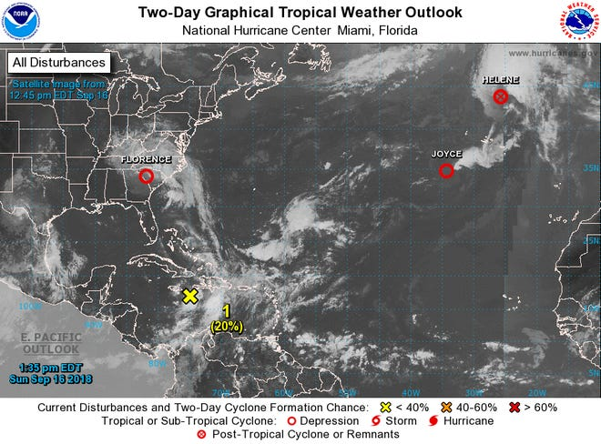 A graphic from the National Hurricane Center shows an overview of active systems over the Atlantic Ocean and Caribbean Sea as of 2 p.m. Sunday, Sept. 16