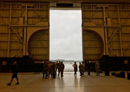 Patrick Air Force Base personnel mobilized inside a C-17 hangar at Joint Base Charleston in South Carolina.