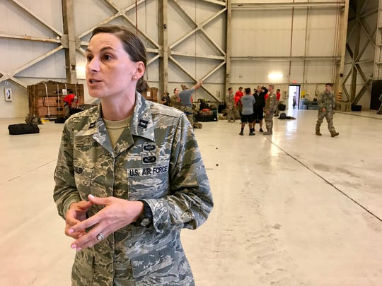 Air Force Capt. Jessica Colby discusses the rescue mission at Joint Base Charleston.