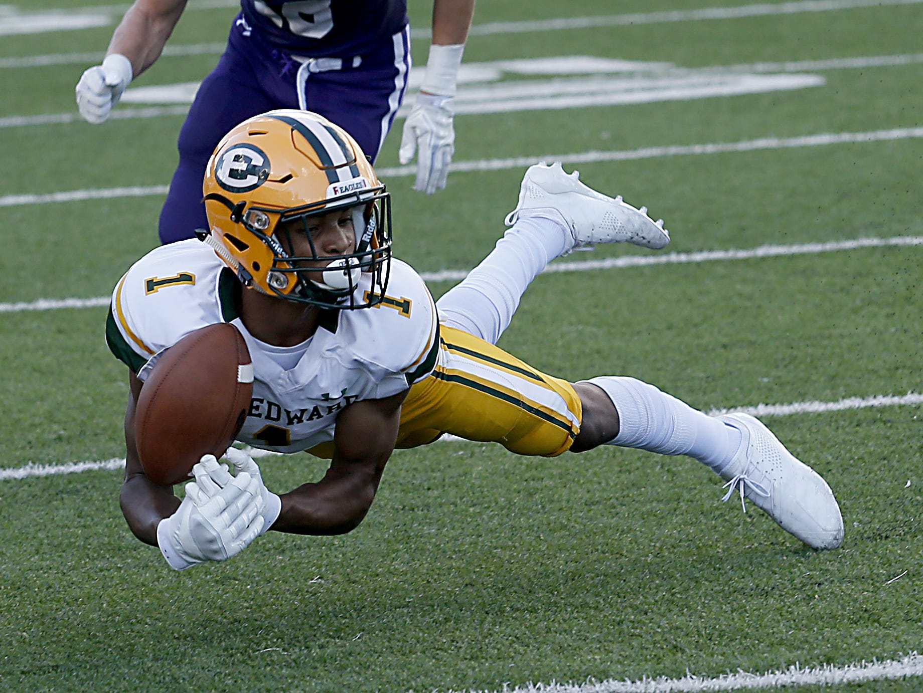 St. Edward's Quintel Kent gets air but not the reception during their game against Elder at The Pit in Cincinnati Saturday, Sept. 15, 2018.