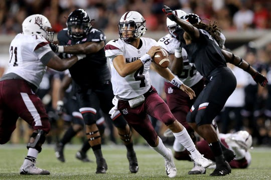 Alabama A&M quarterback Aqeel Glass (4) and the Bulldog offense has shown flashes of brilliance, but not enough to came away with a win in any of their last three games.
