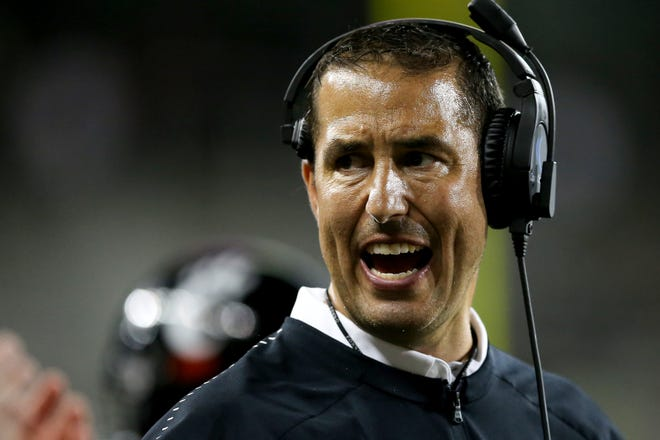 Cincinnati Bearcats head coach Luke Fickell instructs the team in the fourth quarter during a college football game between the Cincinnati Bearcats and the Alabama A&M Bulldogs, Saturday, Sept. 15, 2018, at Nippert Stadium in Cincinnati. Cincinnati Bearcats won 63-7.