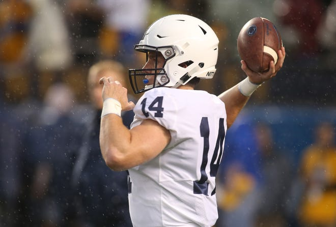 Sep 8, 2018; Pittsburgh, PA, USA;  Penn State Nittany Lions quarterback Sean Clifford (14) warms up before playing the Pittsburgh Panthers at Heinz Field. Penn State won 51-6.