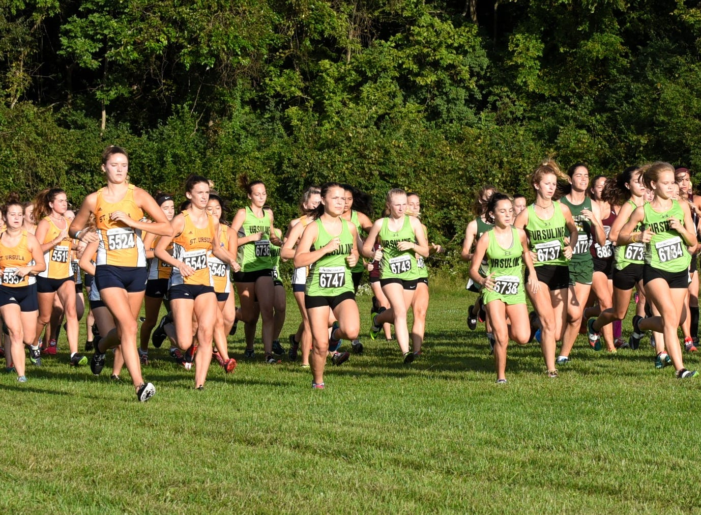The ladies are off and running in the 5K girls open at the 2018 Milford Cross Country Invitational, Sept. 15, 2018.