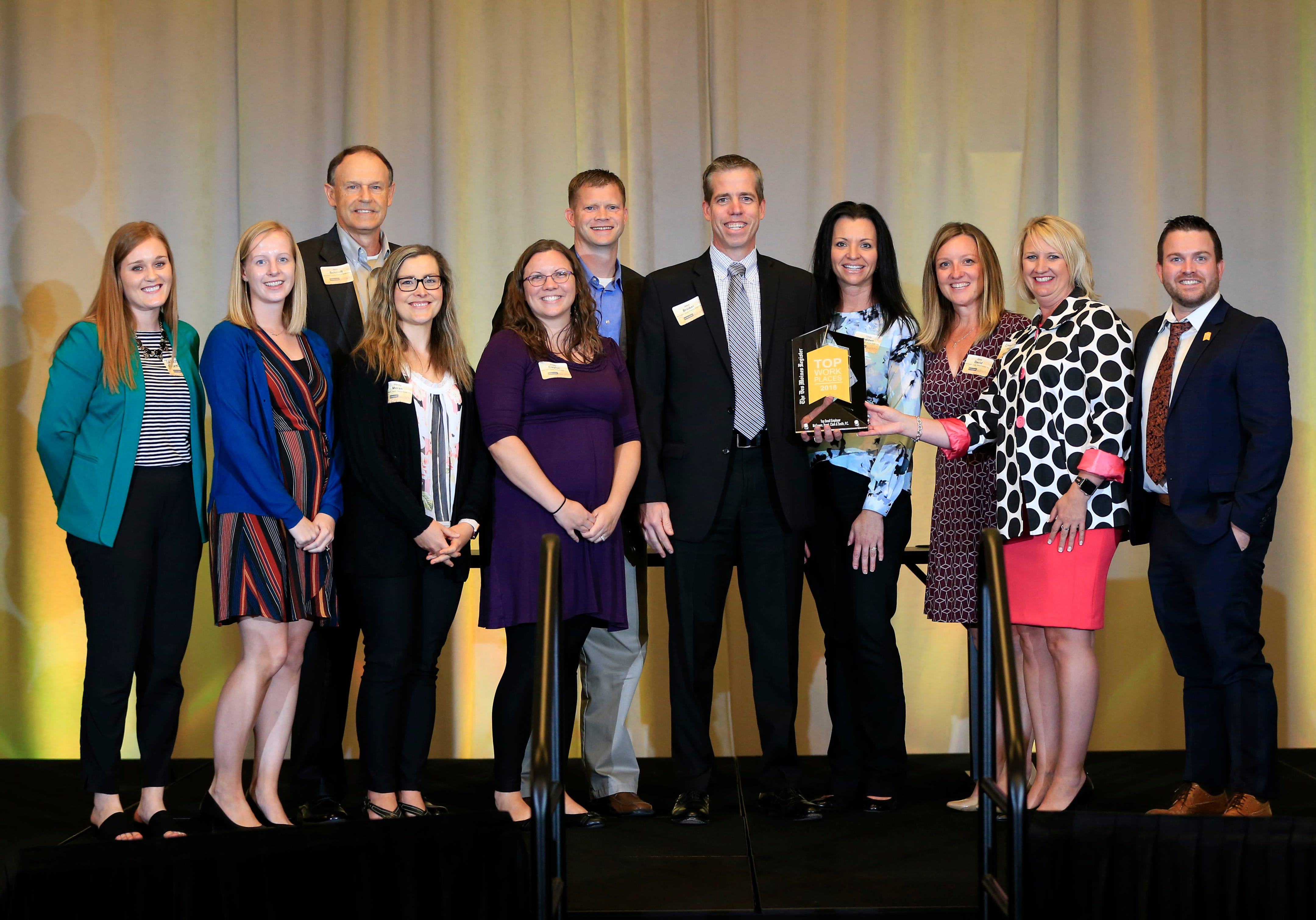 McGowen, Hurst, Clark and Smith, P.C. wins the tops small employer award during the 2018 Top Workplaces awards ceremony in Des Moines.