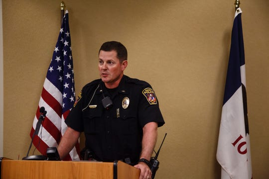 Lt. Brian Kroska with the Ankeny Police briefs the press on an officer involved shooting on SW White Birch Circle following a robbery at Hy-Vee Gas on Saturday, Sept. 15, 2018 in Ankeny.