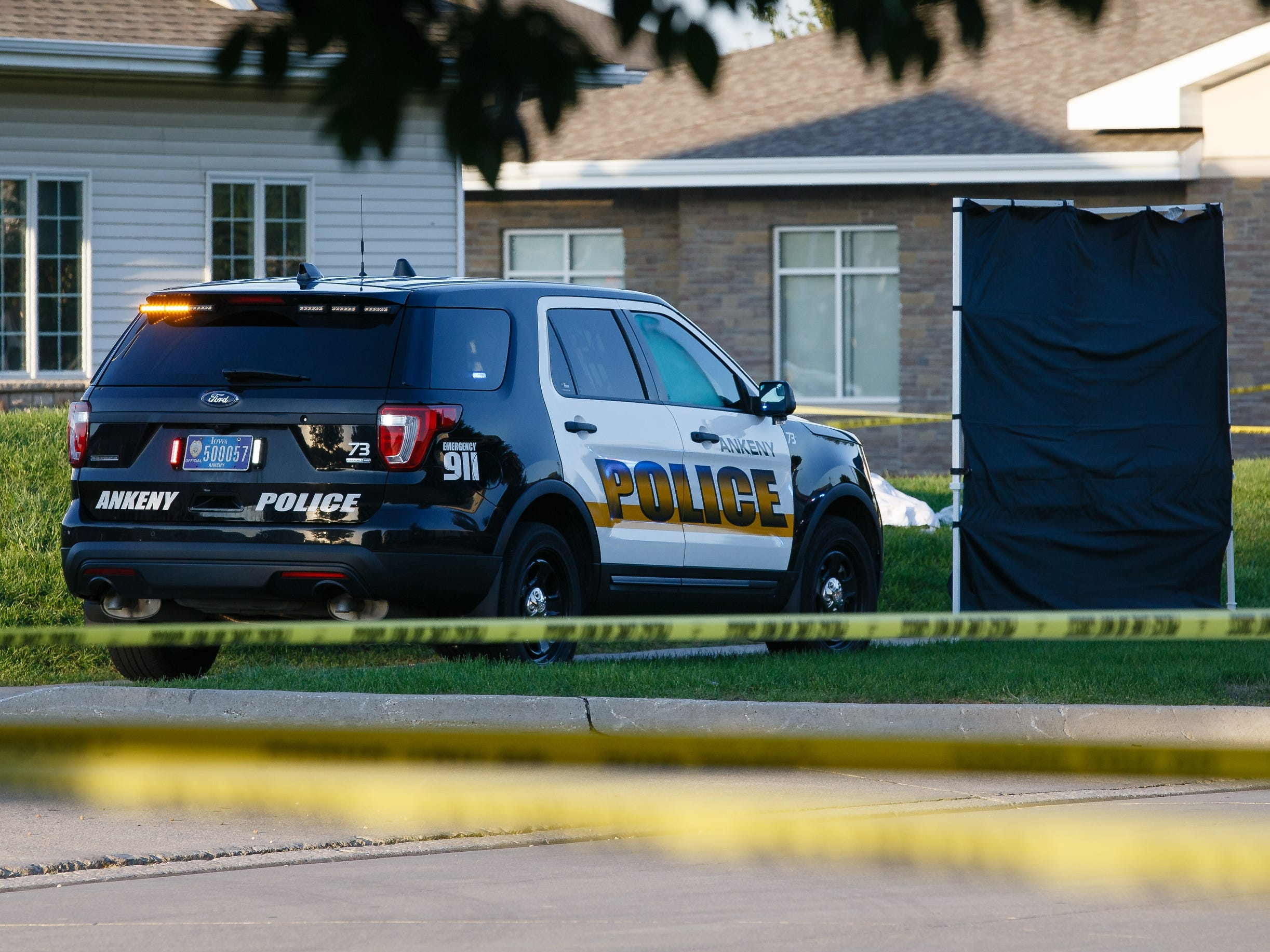 Ankeny Police investigate the scene of an officer involved shooting on Saturday, Sept. 15, 2018 in Ankeny.