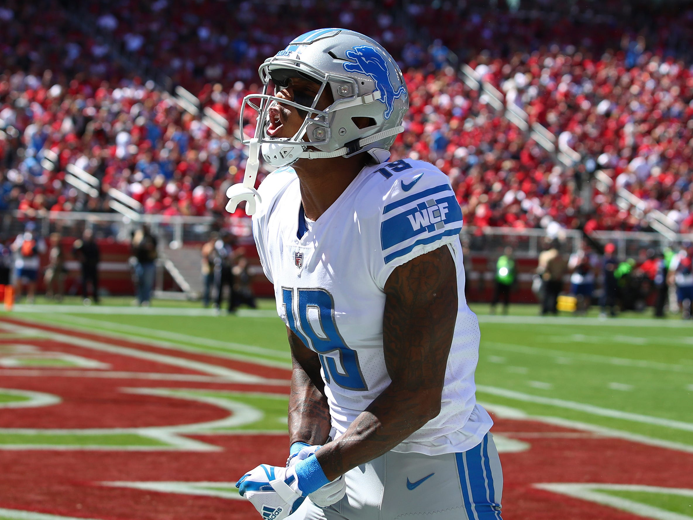 Lions wide receiver Kenny Golladay celebrates after scoring a touchdown during the first half on Sunday, Sept. 16, 2018, in Santa Clara, Calif.