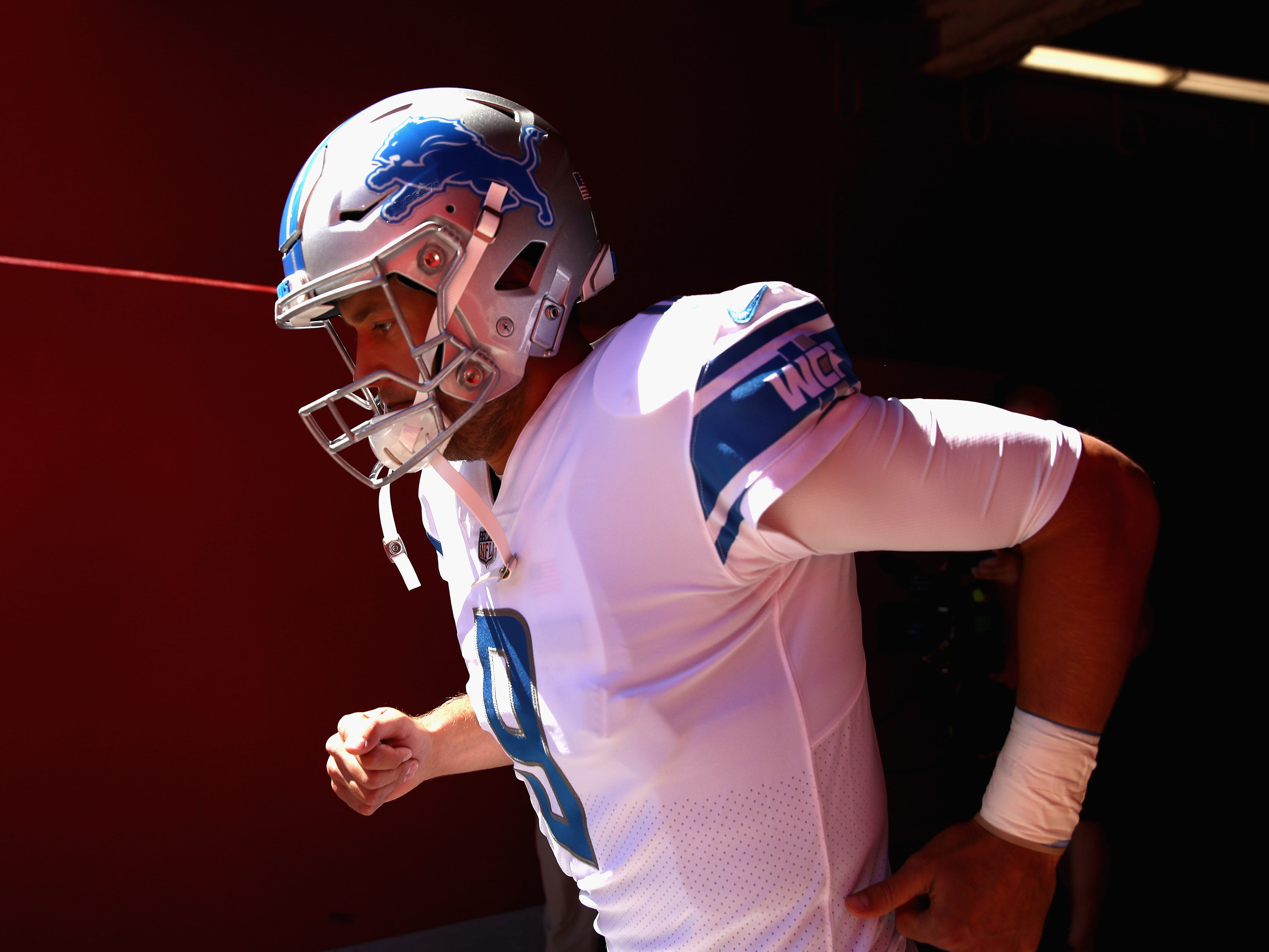 Lions quarterback Matthew Stafford runs out to the field for warm-ups before their game against the San Francisco 49ers at Levi's Stadium on Sunday, Sept. 16, 2018 in Santa Clara, Calif.