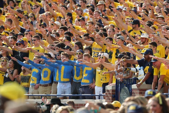 Michigan fans cheer during action against SMU on Saturday, Sept. 15, 2018 at Michigan Stadium.