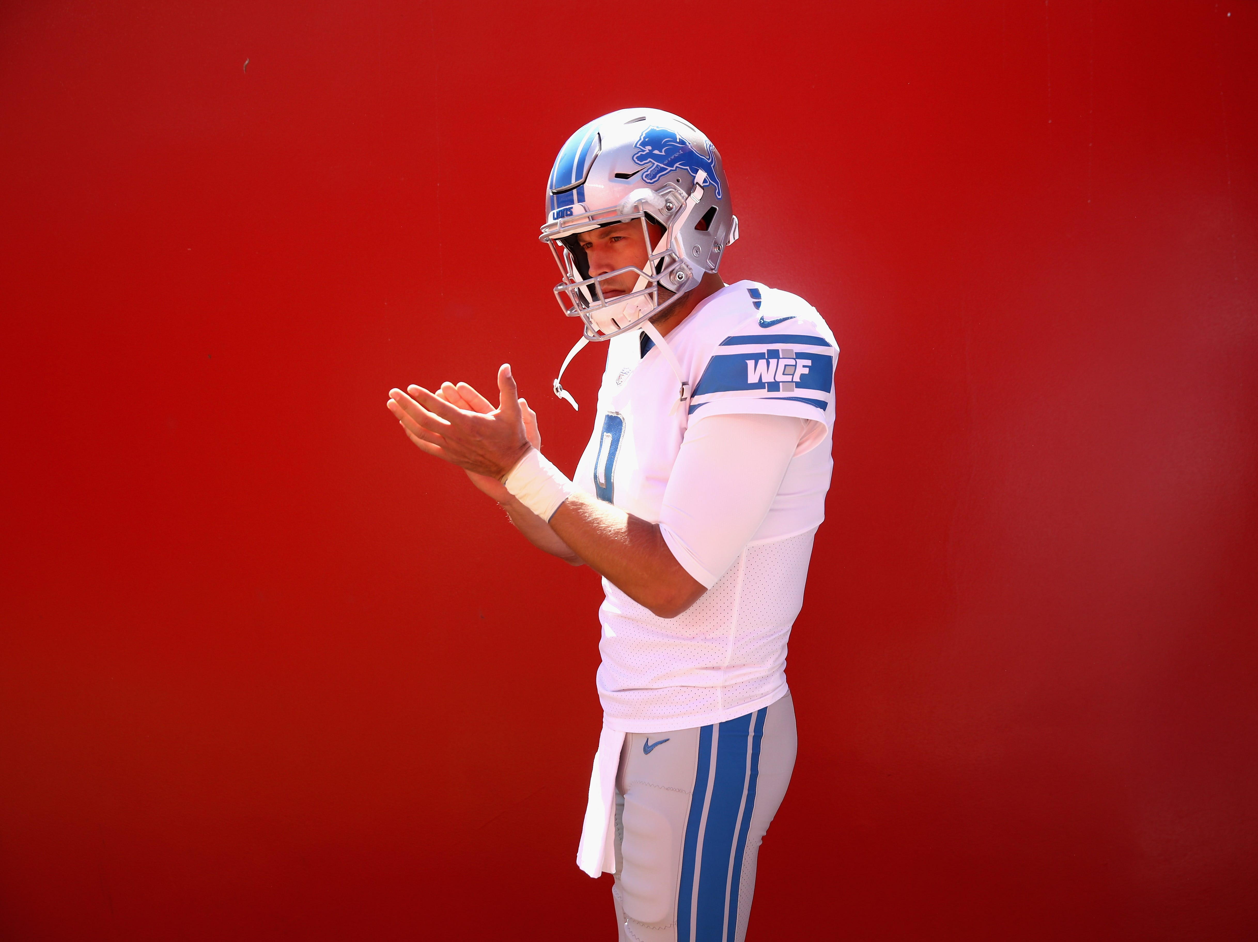 Lions quarterback Matthew Stafford stands in the tunnel before their game against the San Francisco 49ers on Sunday, Sept. 16, 2018, in Santa Clara, Calif.