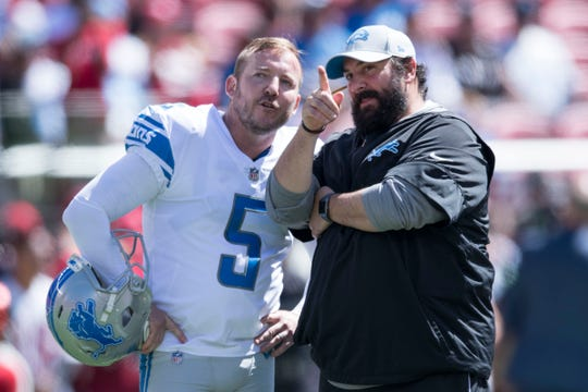 Lions kicker Matt Prater talks to head coach Matt Patricia before the game against the San Francisco 49ers on Sunday, Sept. 16, 2018 in Santa Clara, Calif.