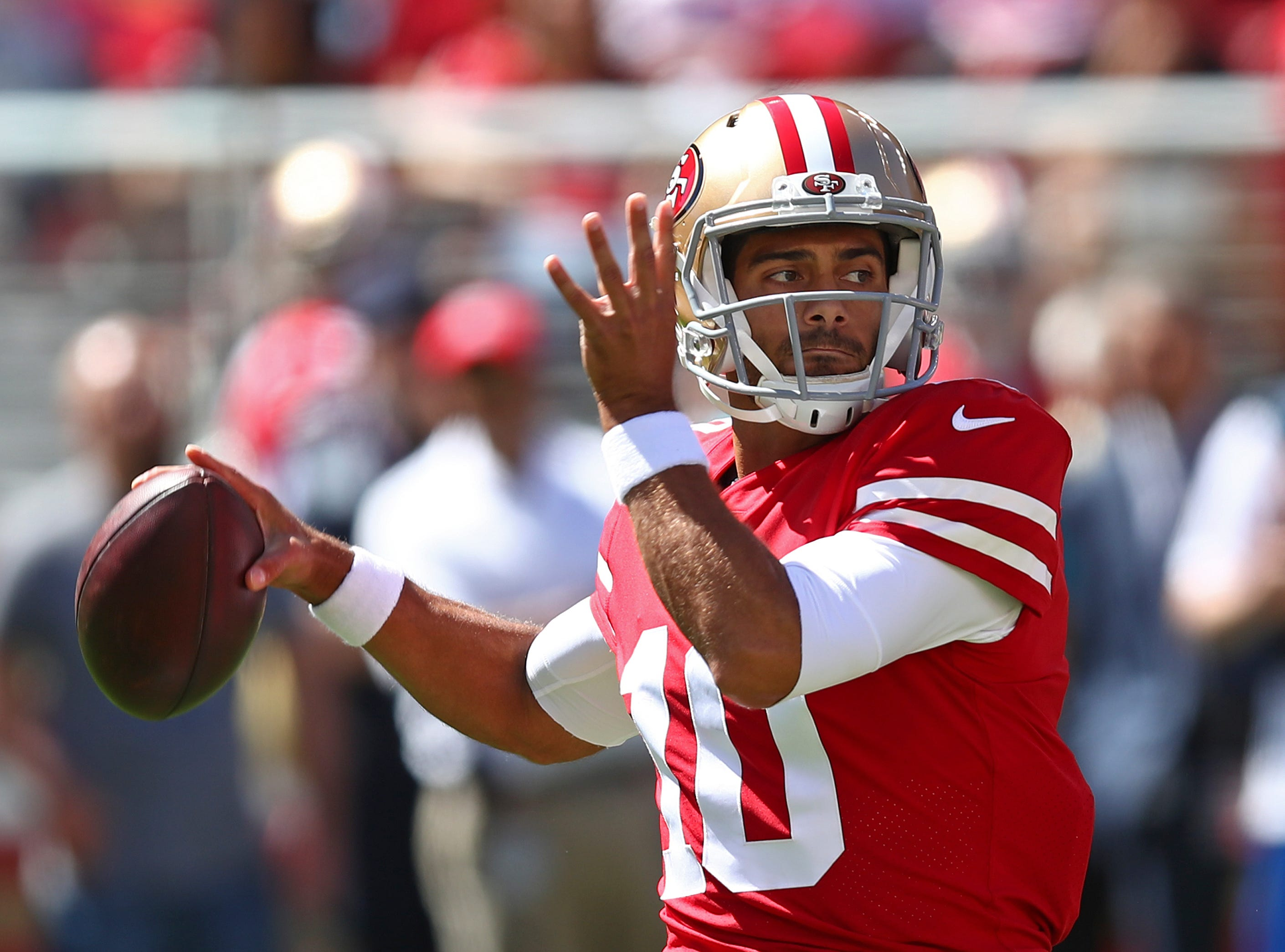 49ers quarterback Jimmy Garoppolo drops back to throw during the first half on Sunday, Sept. 16, 2018, in Santa Clara, Calif.