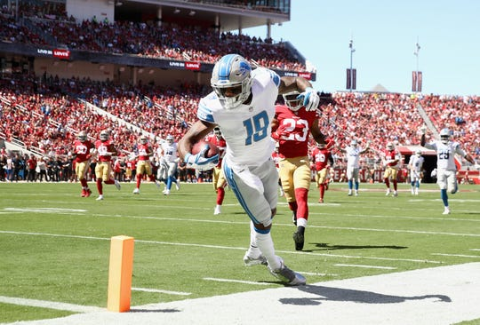 Detroit Lions' Kenny Golladay dives in for a touchdown against the San Francisco 49ers at Levi's Stadium on Sunday, Sept. 16, 2018 in Santa Clara, Calif.