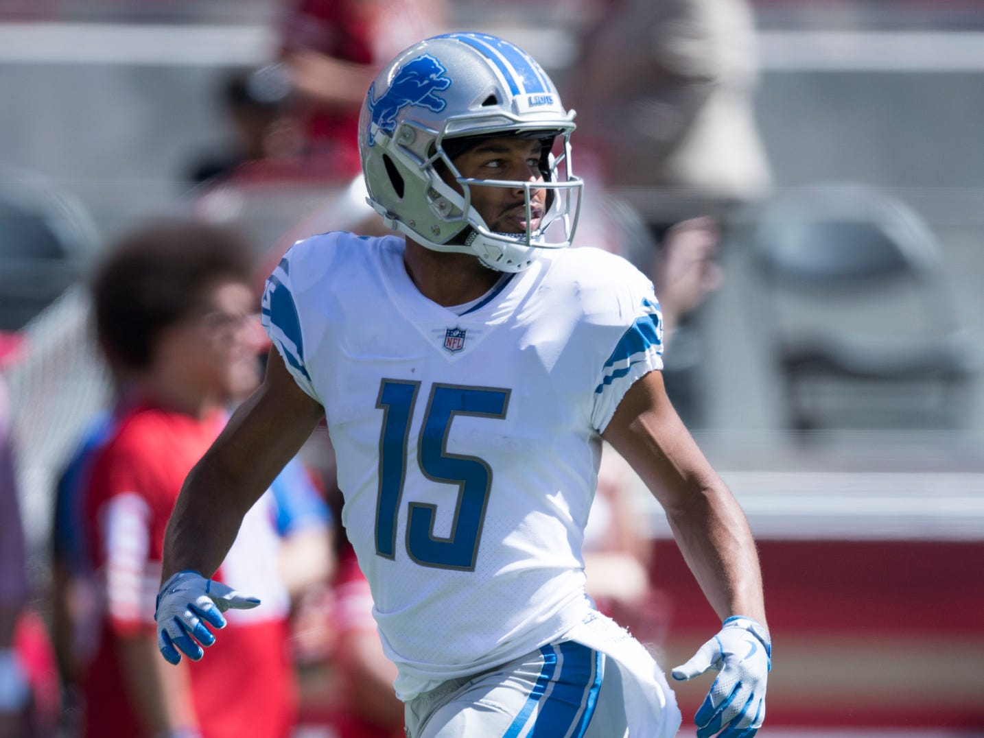 Lions wide receiver Golden Tate warms up before the game against the San Francisco 49ers on Sunday, Sept. 16, 2018 in Santa Clara, Calif.