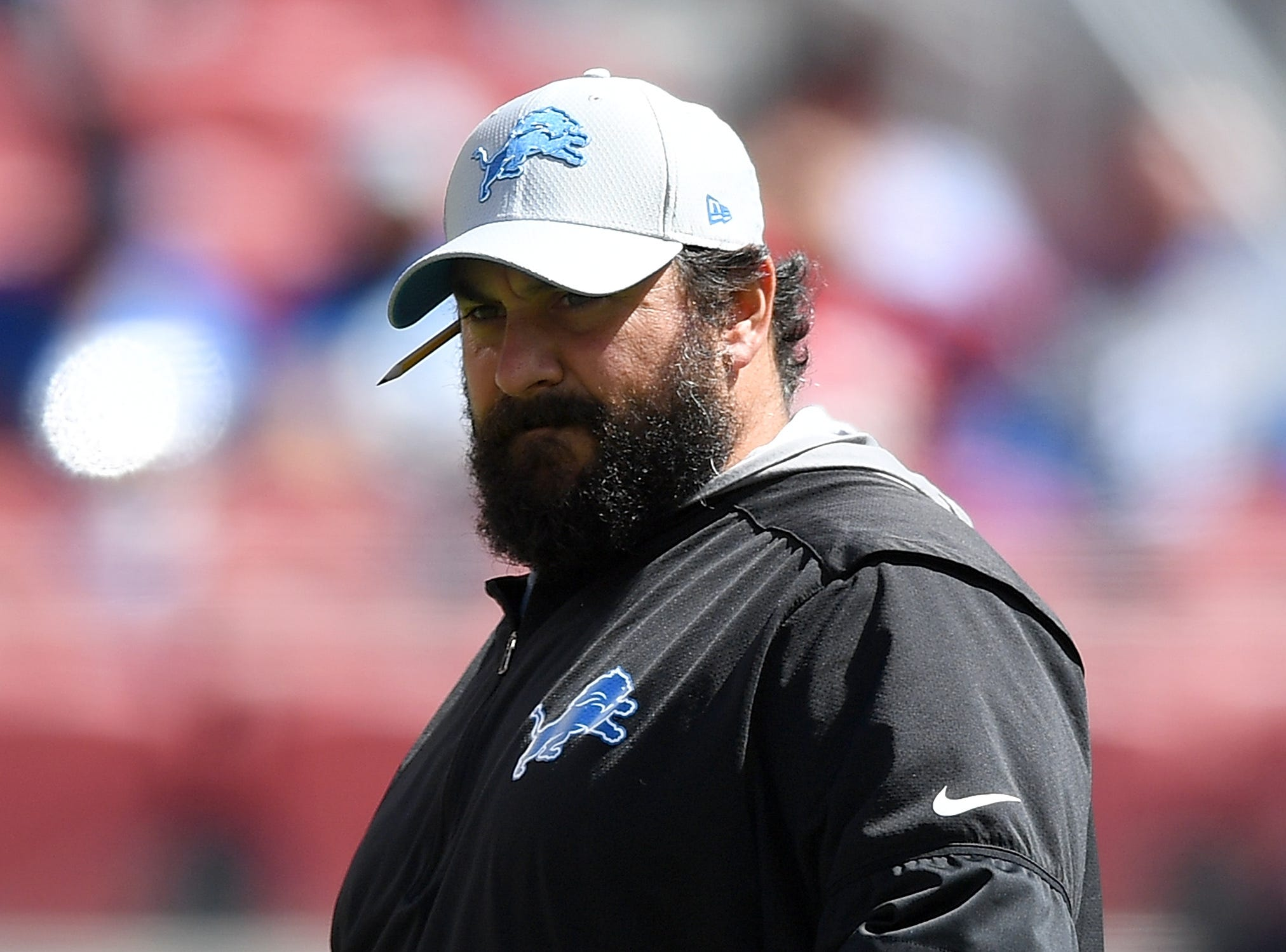 Lions coach Matt Patricia looks on while his team warms up on Sunday, Sept. 16, 2018, in Santa Clara, Calif.