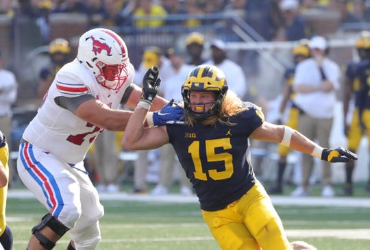 Chase Winovich rushes against SMU's Larry Hughes.