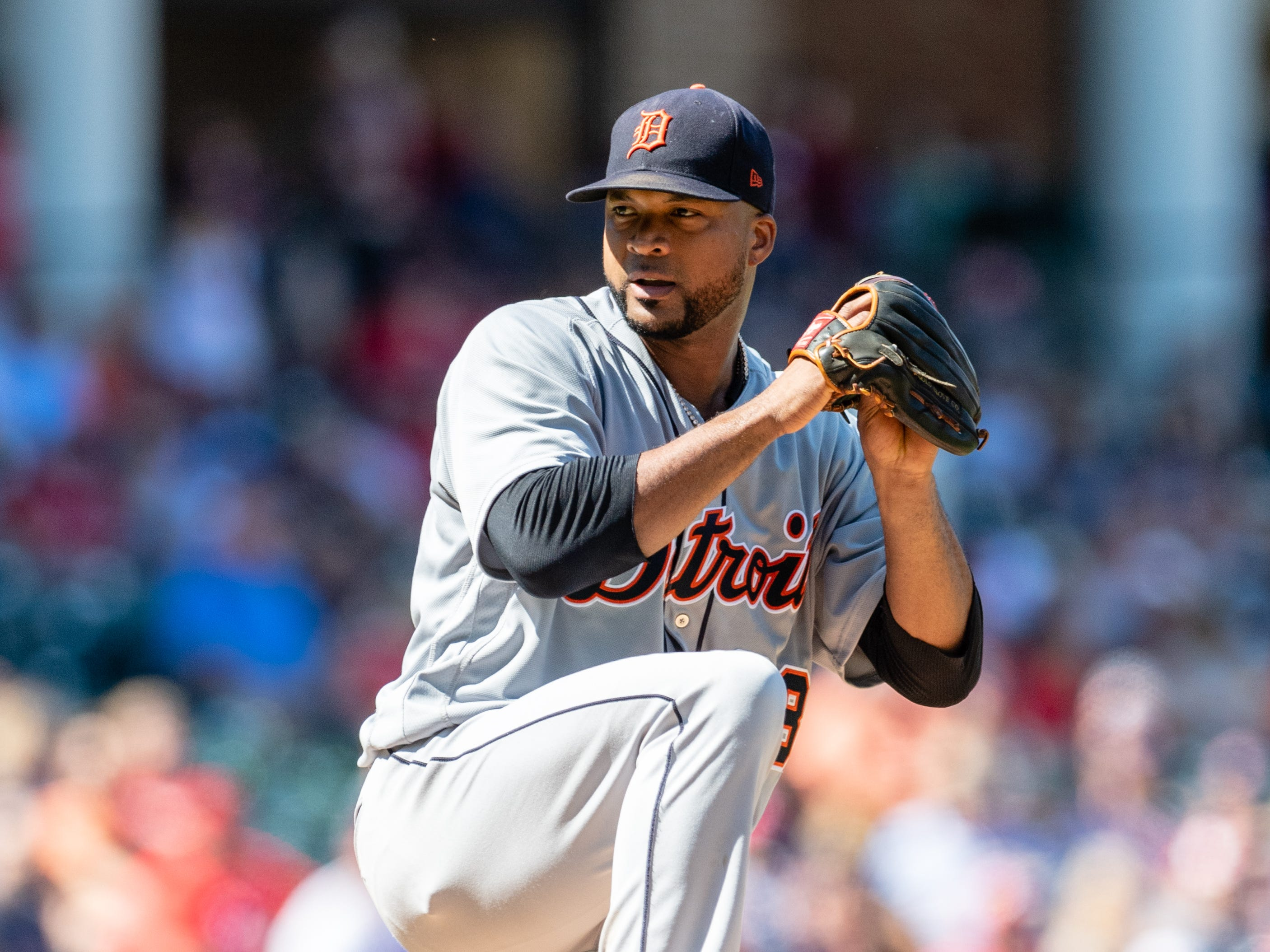 Tigers pitcher Francisco Liriano pitches during the first inning on Sunday, Sept. 16, 2018, in Cleveland.