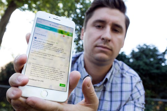 Joe Egan, 32, of Huntington Woods used the Nextdoor app to communicate with residents concerned about trees being cut down in the neighborhood, Tuesday, Sept. 11, 2018.