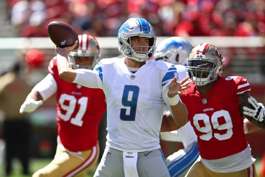 Matthew Stafford didn't throw an interception on Sunday against the 49ers, but did lose a fumble, his fifth turnover in two games.