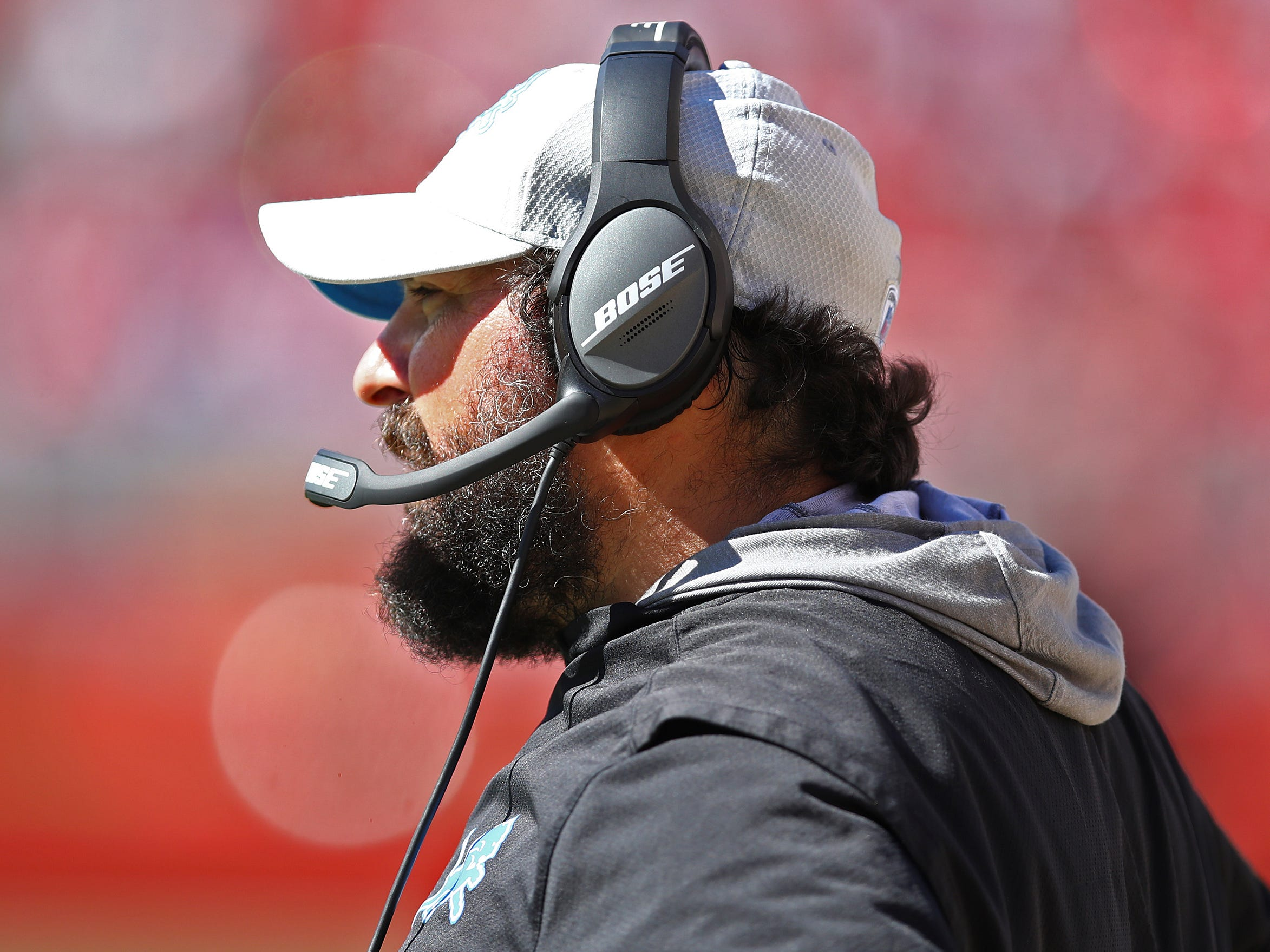 Lions coach Matt Patricia watches from the sidelines during the second half on Sunday, Sept. 16, 2018, in Santa Clara, Calif.