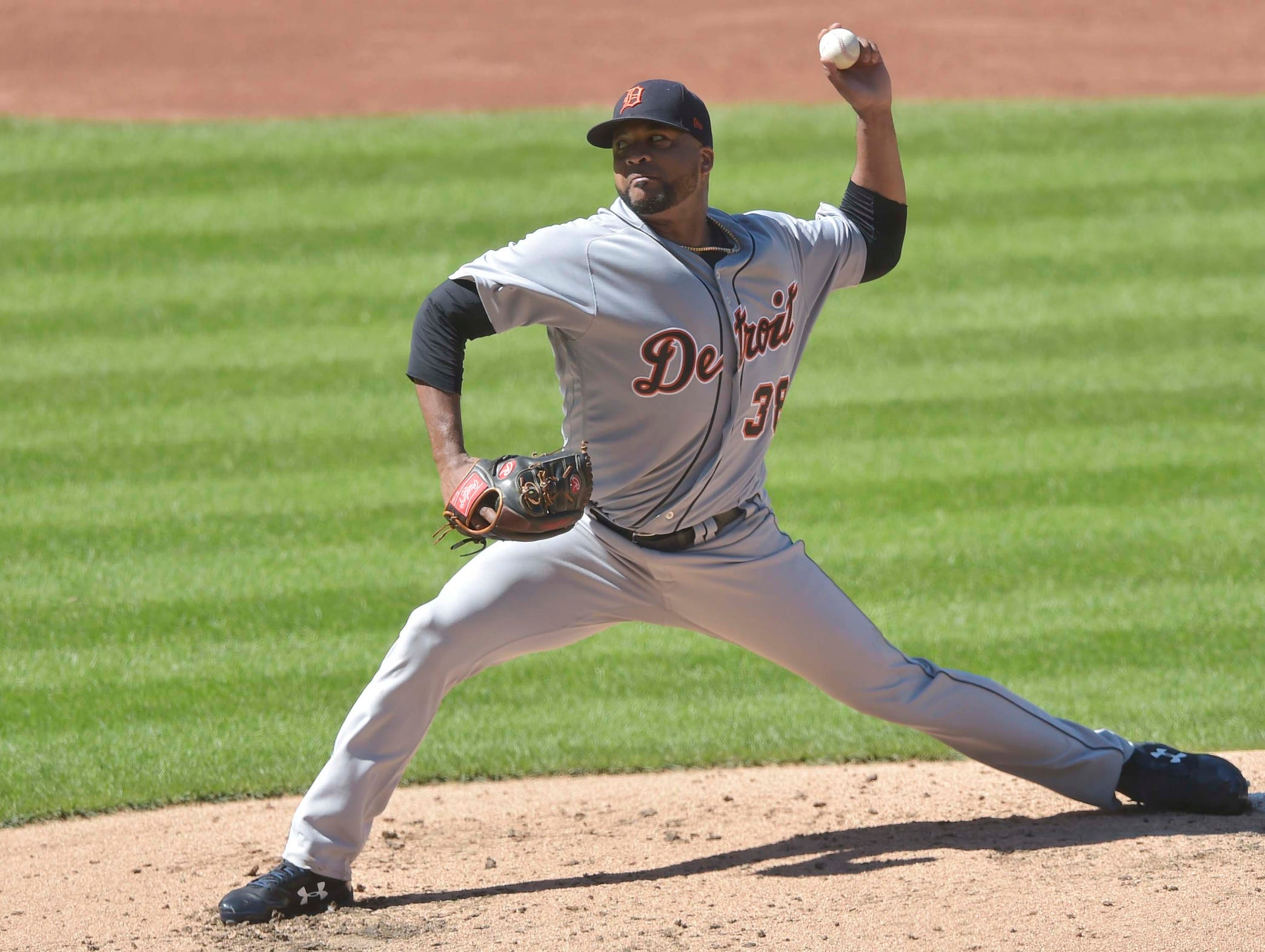 Tigers pitcher Francisco Liriano delivers in the third inning on Sunday, Sept. 16, 2018, in Cleveland.