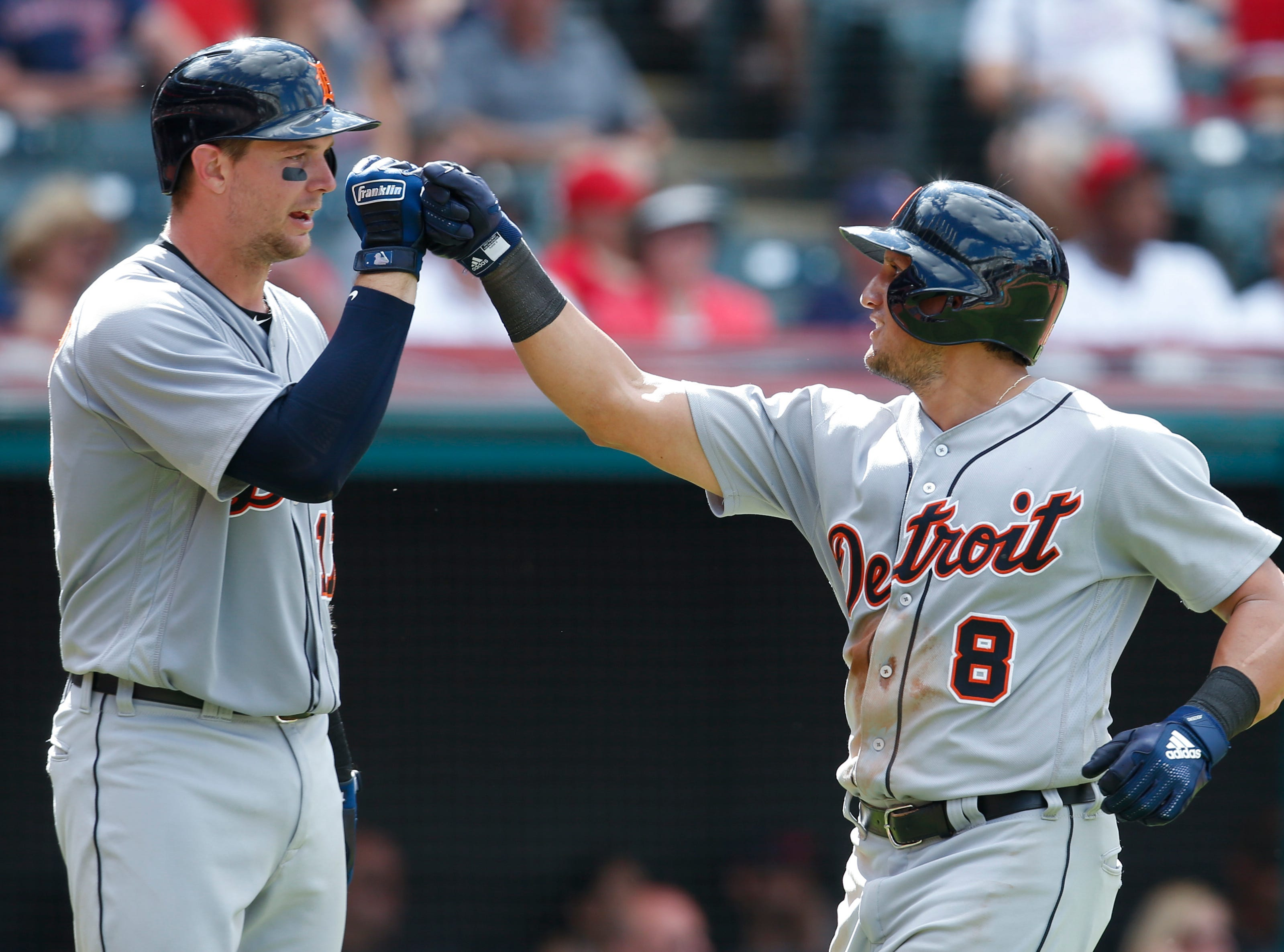 Tigers right  fielder Mikie Mahtook, right, celebrates with Grayson Greiner after hitting a solo home run during the eighth inning of the Tigers' 6-4 win on Sunday, Sept. 16, 2018, in Cleveland.