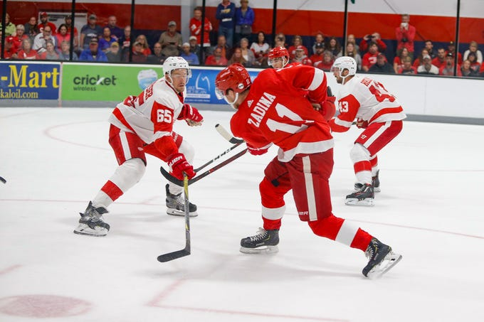 Filip Zadina fires a shot past Danny DeKeyser late in the game, but the puck bounced off the chest of goaltender Patrik Rybar.