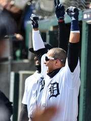 """Niko Goodrum on Victor Martinez: """"Vic is a great teammate. He brings a lot of energy."""""""