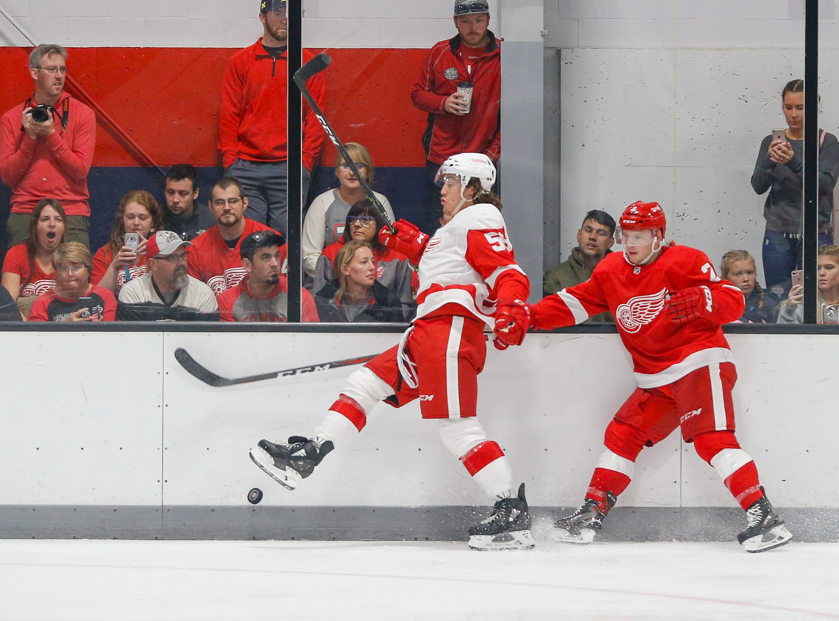 Tyler Bertuzzi (58) and Joe Hicketts (2) tangle along the boards going for a loose puck.