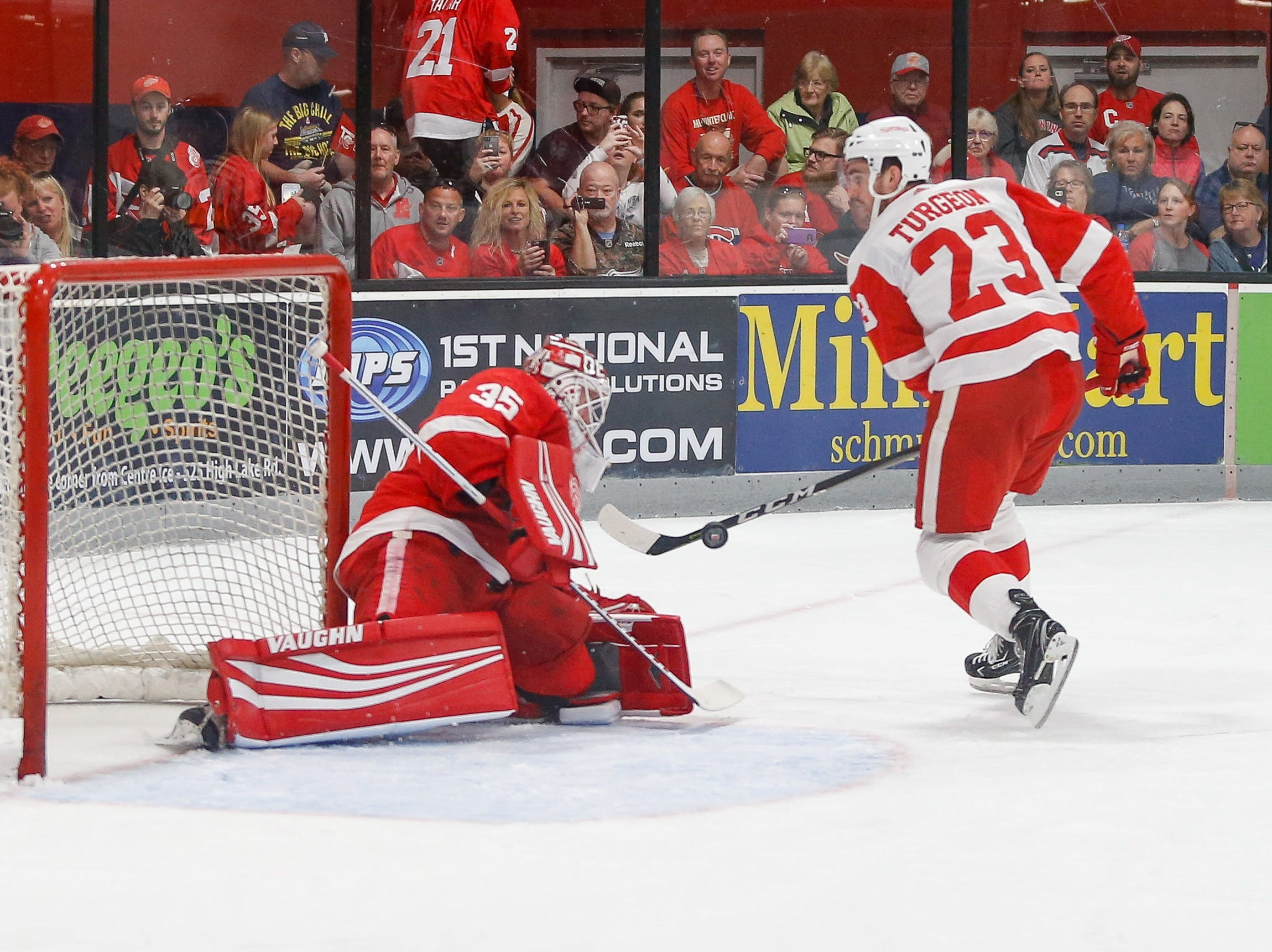 Jimmy Howard turns away Dominic Turgeon's first-period penalty shot.