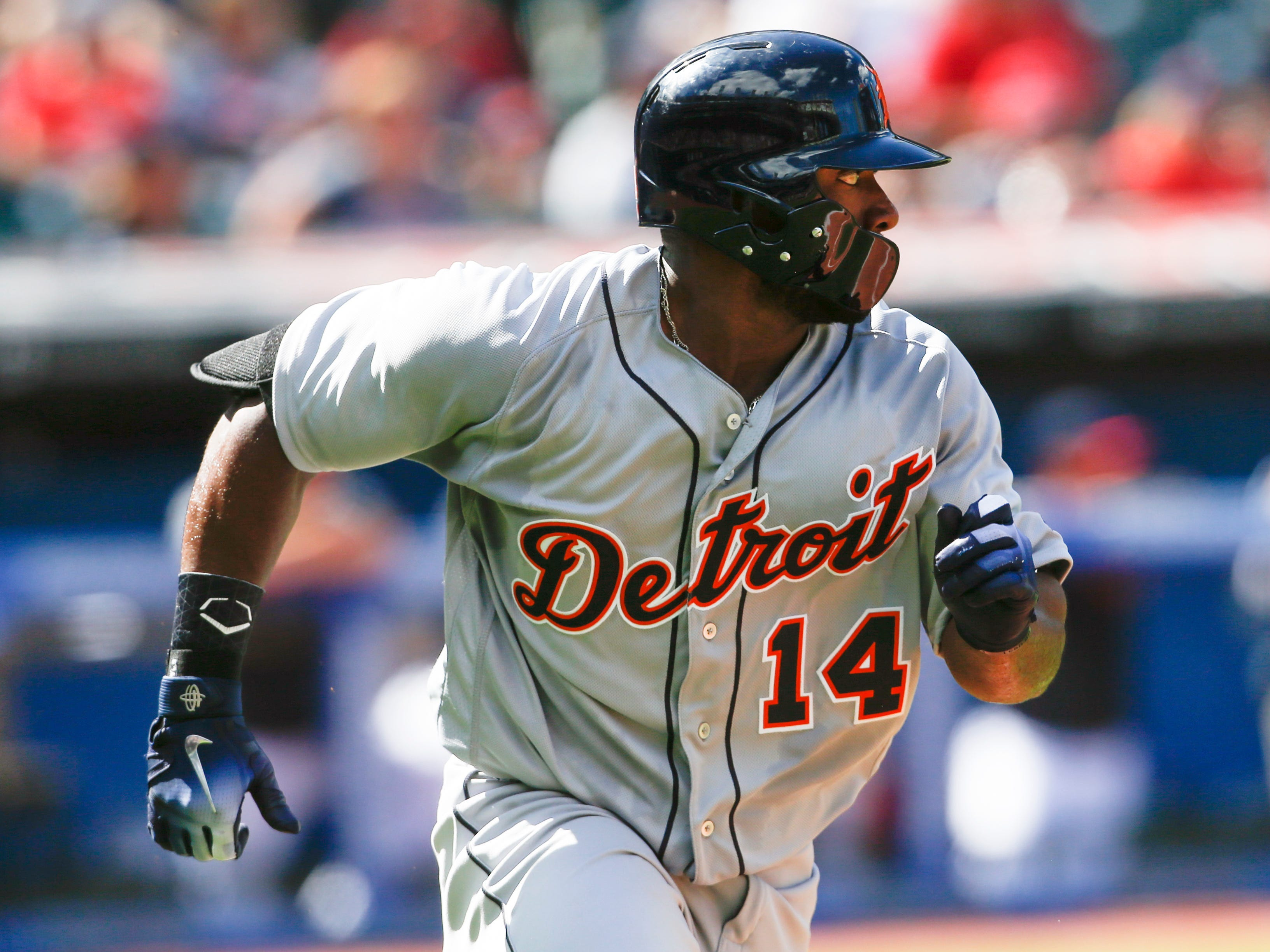 Detroit Tigers' Christin Stewart runs out an RBI single off Cleveland Indians' Shane Bieber during the fifth inning.
