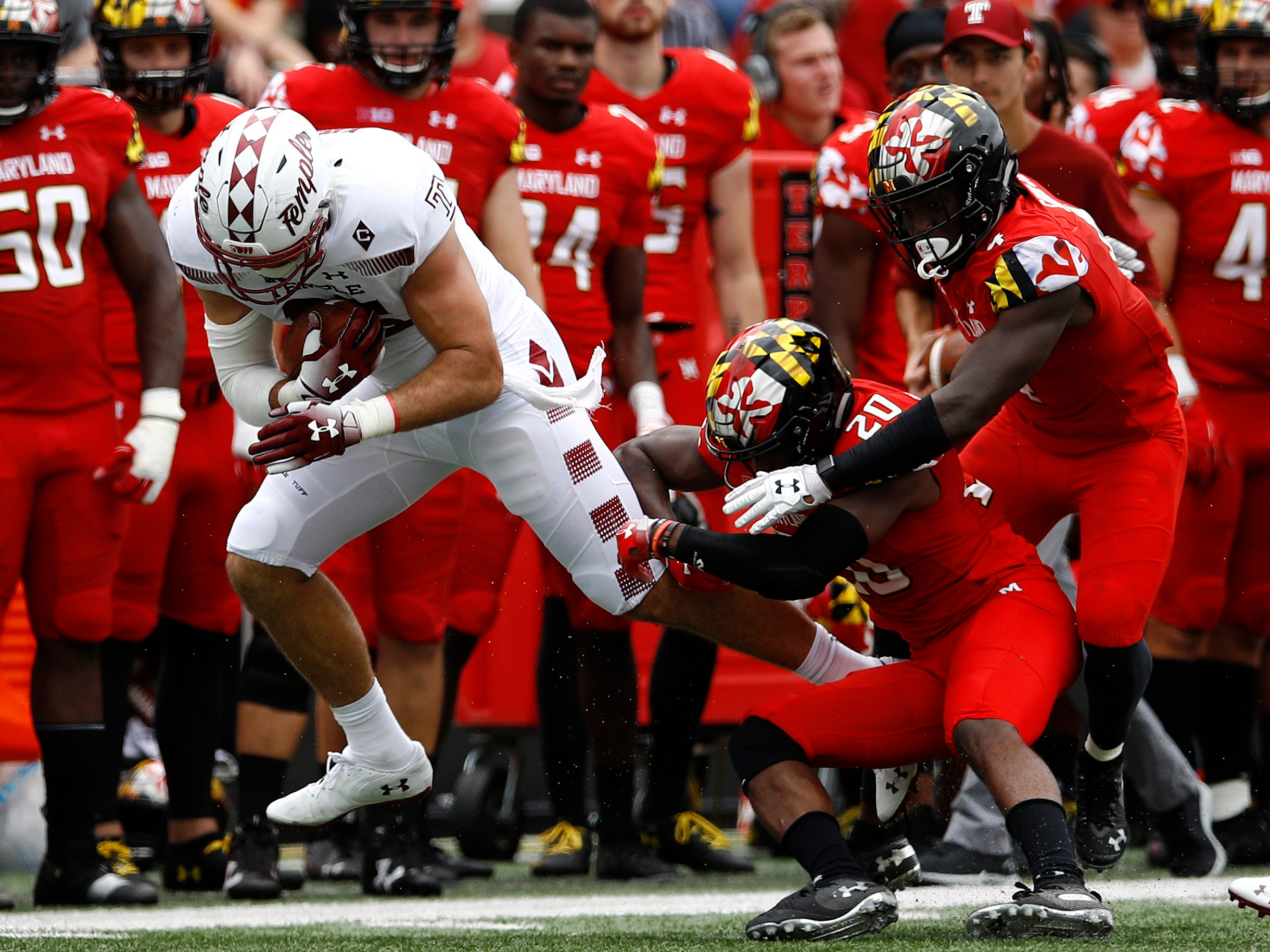 10. Maryland (2-1) – Things were rolling for the Terrapins after two weeks, but that momentum came to an abrupt end with an ugly home loss to previously winless Temple. The Terps couldn't move the ball through the air as they threw a pair of interceptions and two QBs combined to go 8-for-21 for 63 yards. The Terps host Minnesota this week before heading to Michigan. Last week: 7.