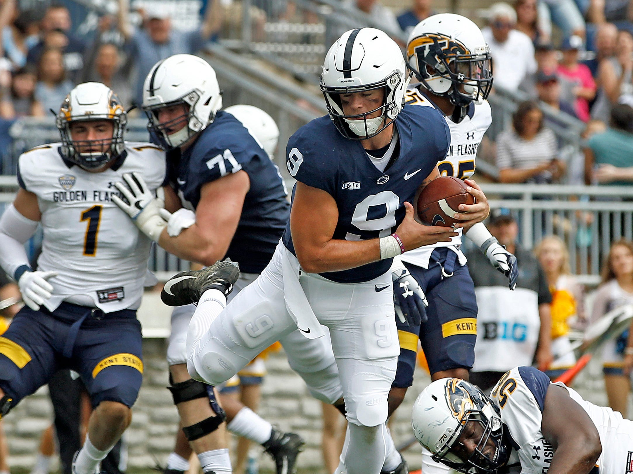 2. Penn State (3-0) – The first-week scare against Appalachian State is well in the rearview mirror after the Nittany Lions crushed Kent State behind five touchdowns from quarterback Trace McSorley, including three rushing. It's time for conference play next as the Nittany Lions take on Illinois before the showdown at home with Ohio State. Last week: 3.