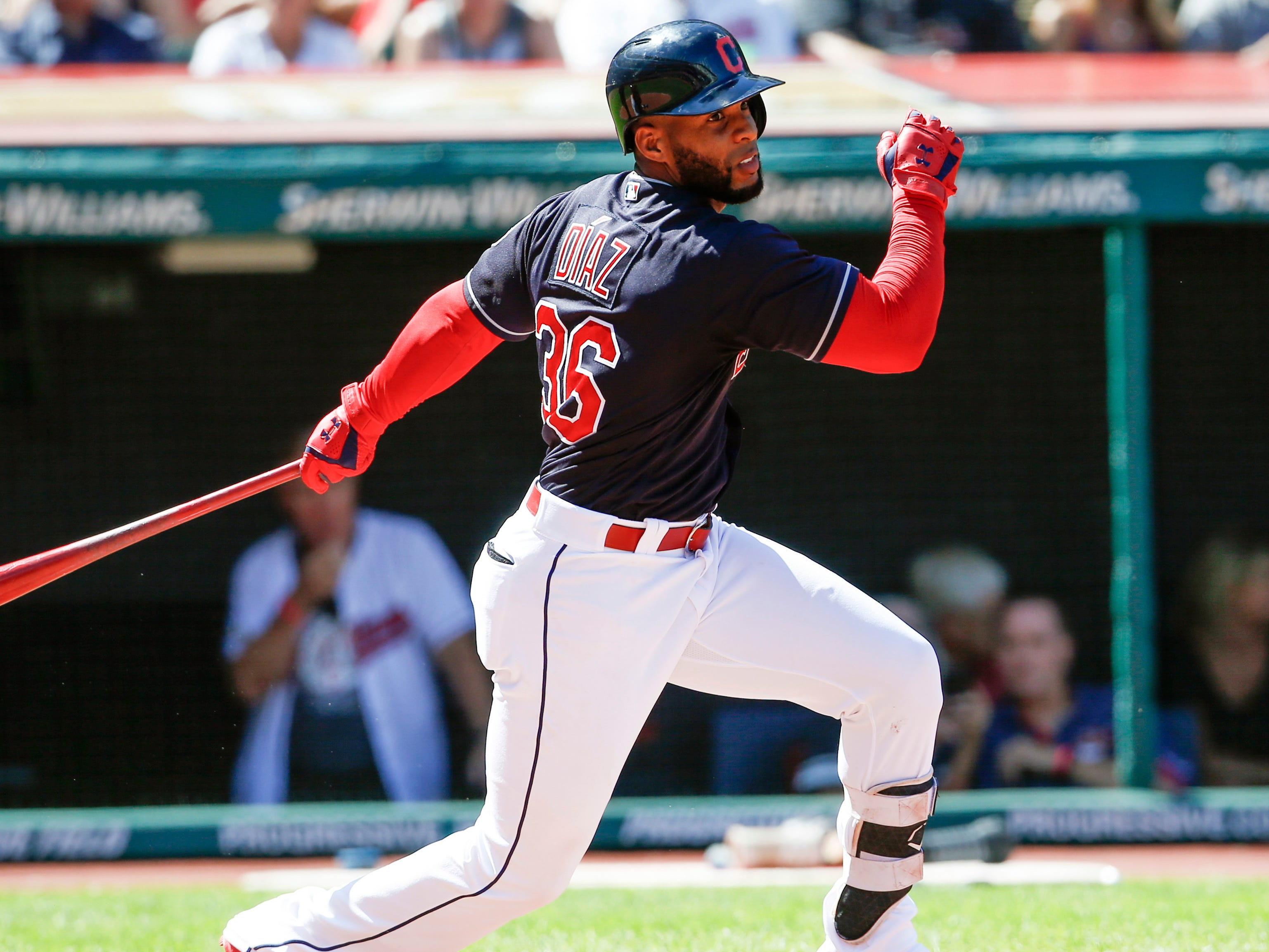 Cleveland Indians' Yandy Diaz hits a double off Detroit Tigers starting pitcher Francisco Liriano during the fourth inning.