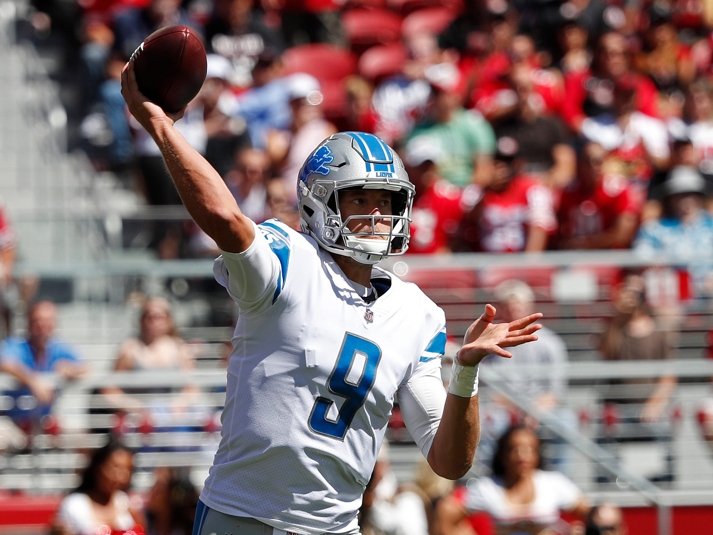 Detroit Lions quarterback Matthew Stafford throws during the first half of an NFL football game against the San Francisco 49ers in Santa Clara, Calif., Sunday, Sept. 16, 2018.