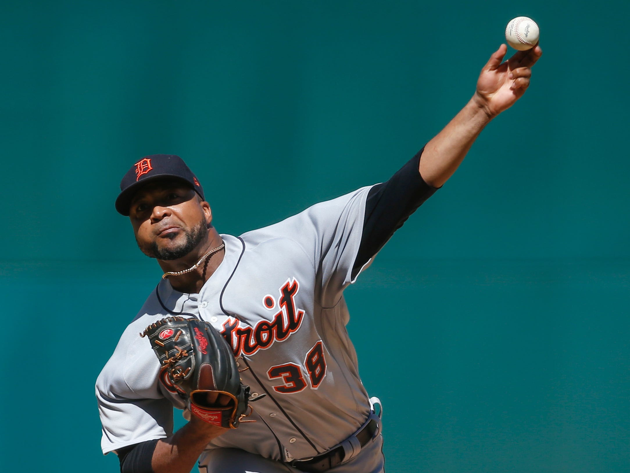 Detroit Tigers starting pitcher Francisco Liriano delivers against the Cleveland Indians during the first inning.
