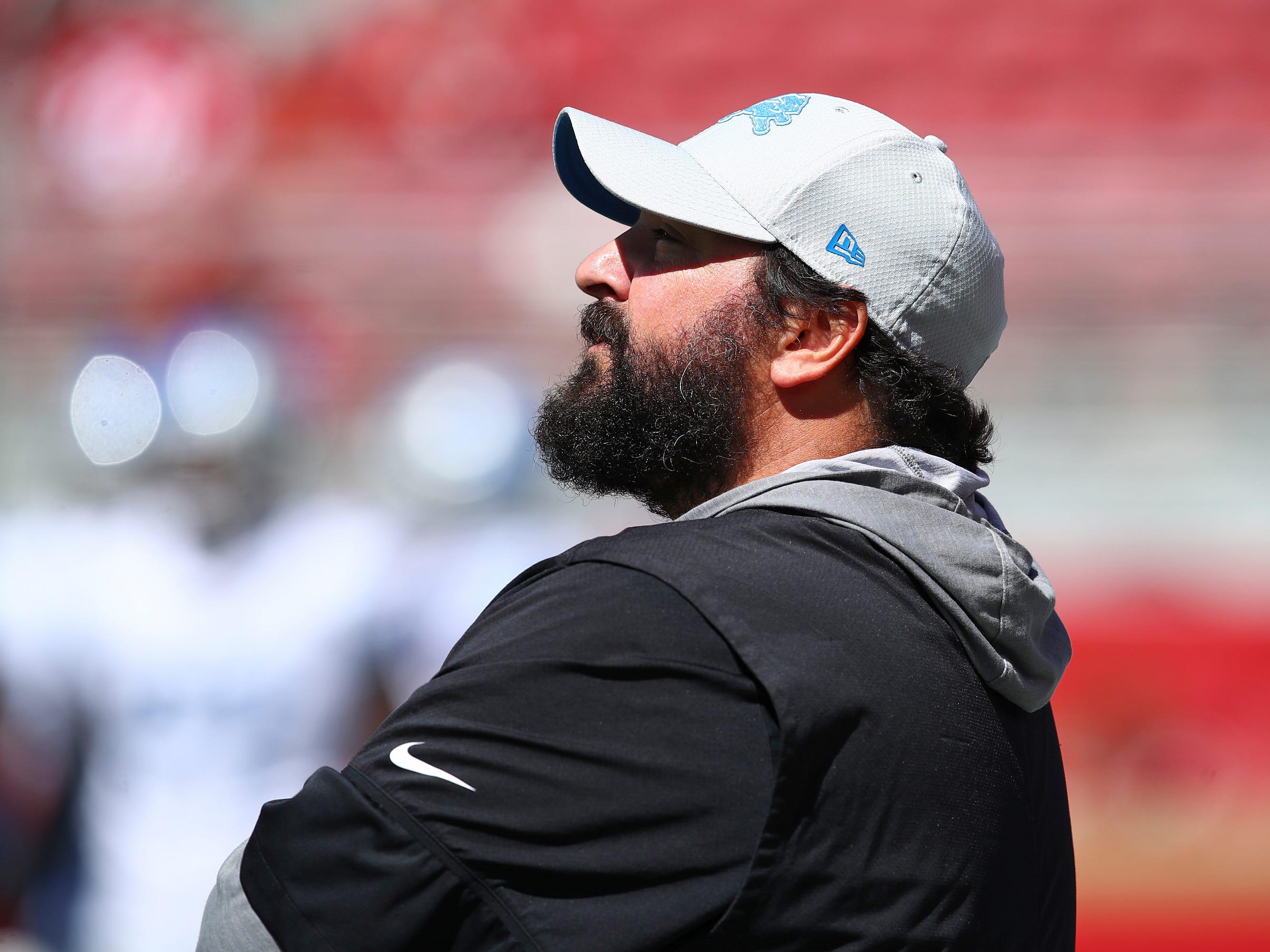 Detroit Lions head coach Matt Patricia watches warmups before an NFL football game against the San Francisco 49ers.