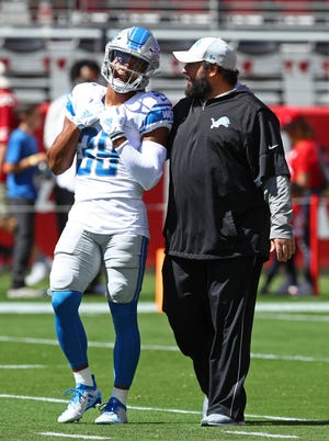 Detroit Lions cornerback Jamal Agnew talks with Matt Patricia during warmups before the game against the San Francisco 49ers.