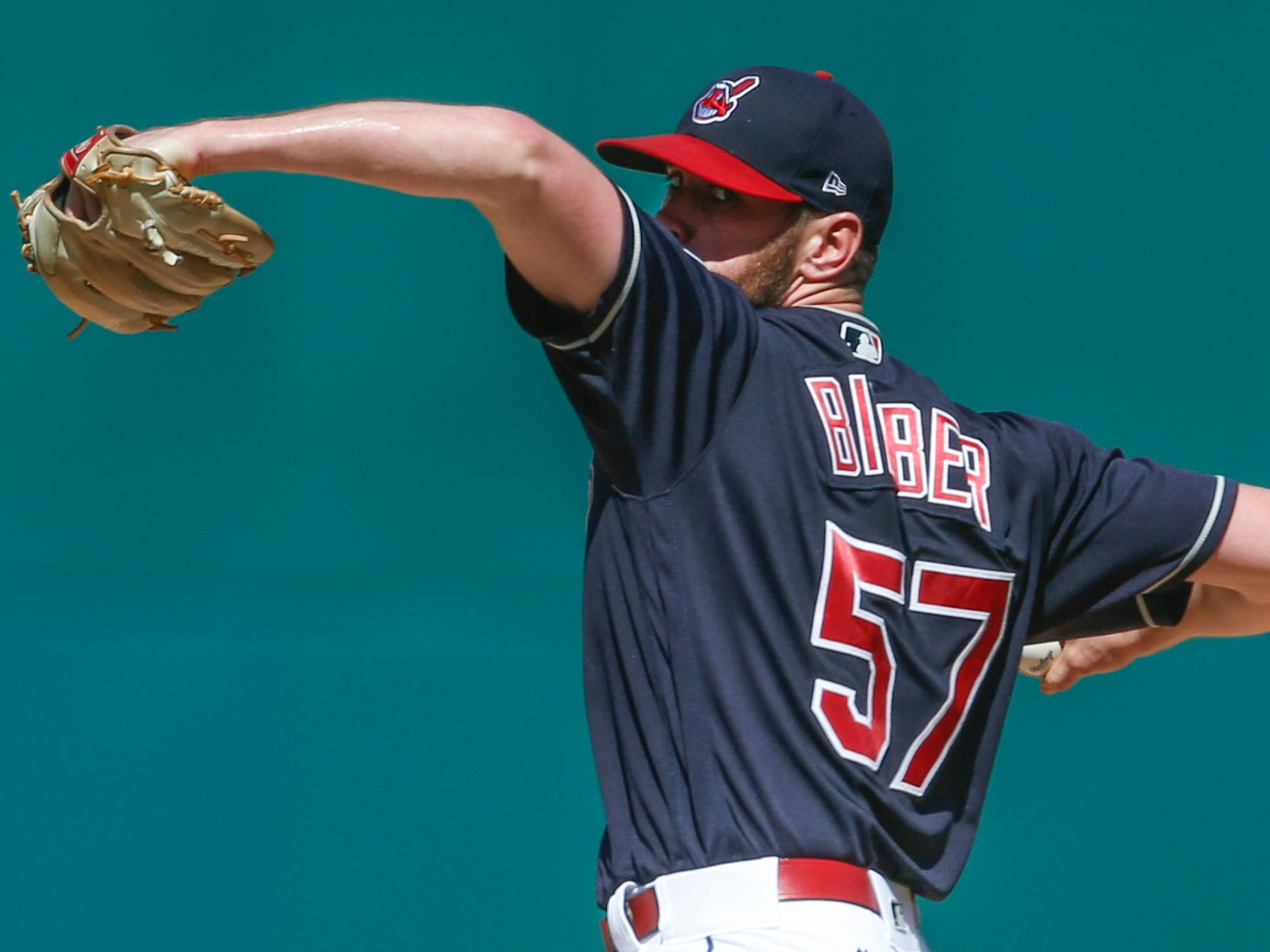 Cleveland Indians' Shane Bieber delivers against the Detroit Tigers during the first inning.