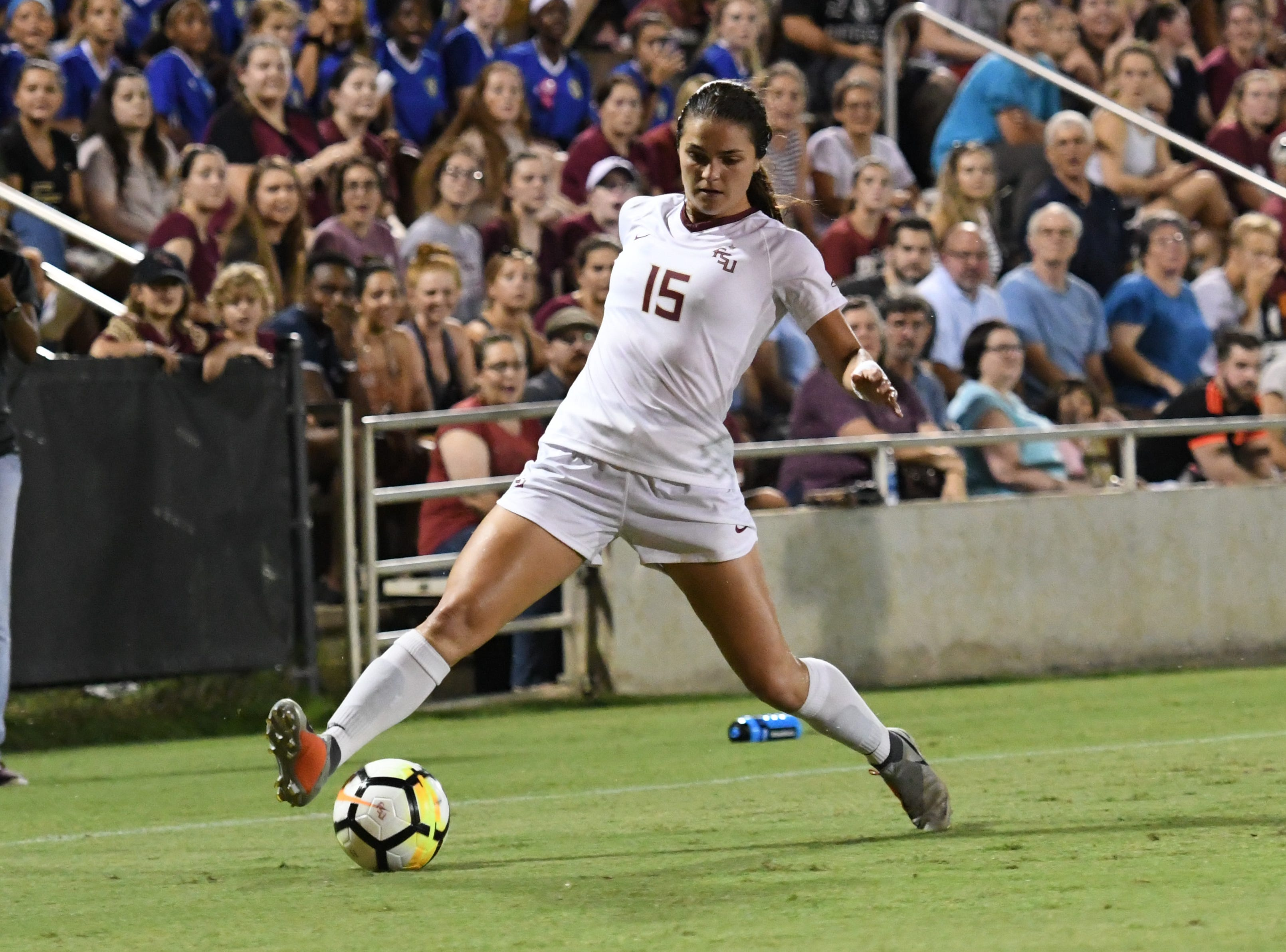 FSU senior midfielder Olivia Bergau (15) stopping the ball during the second half of FSU's game against UNC on September 14th at the Seminole Soccer Complex.