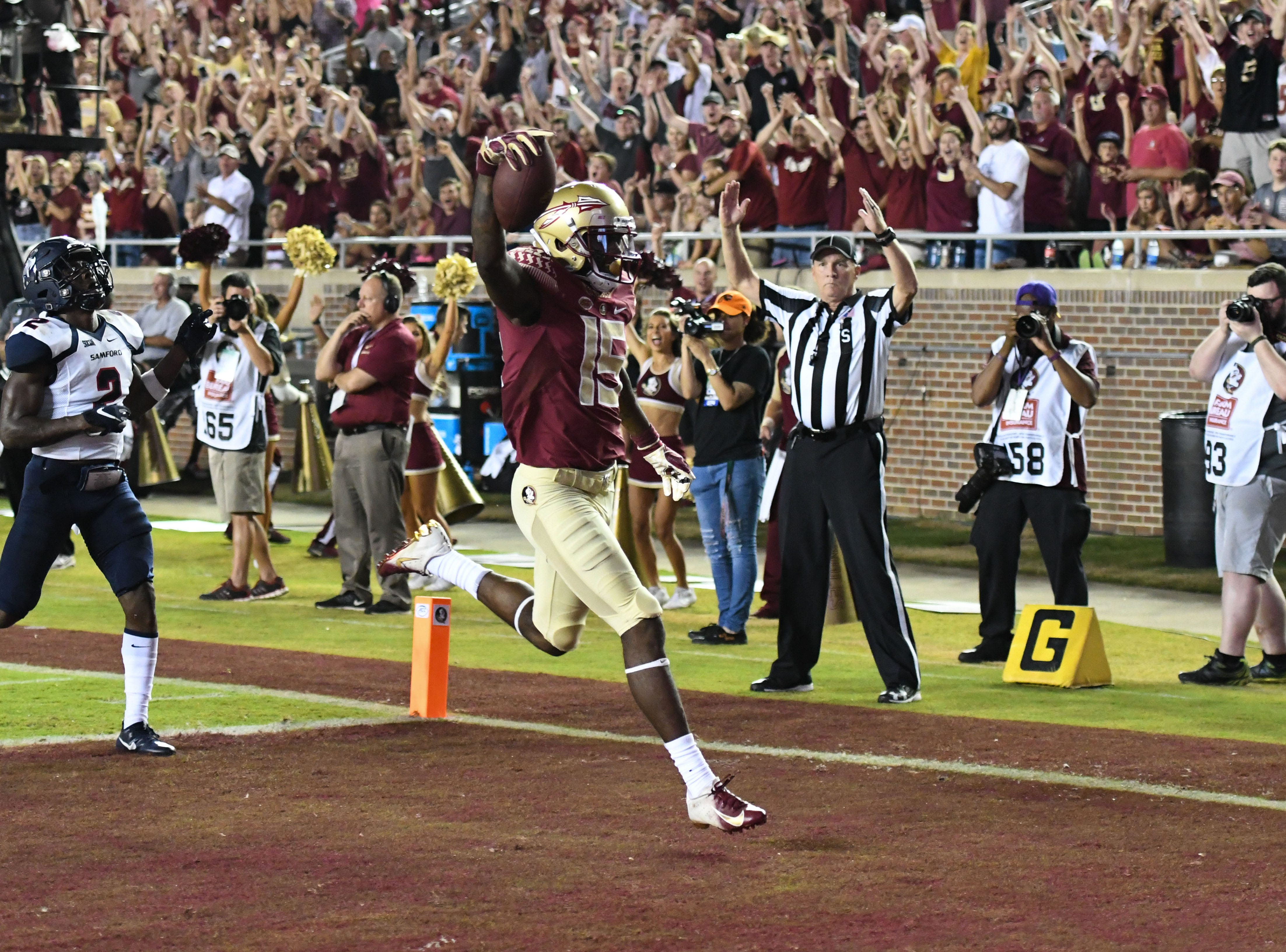 FSU redshirt freshman Tamorrion Terry (15) scoring the Seminoles first touchdown of the year in FSU's game against Samford on Saturday night at Doak Campbell Stadium.