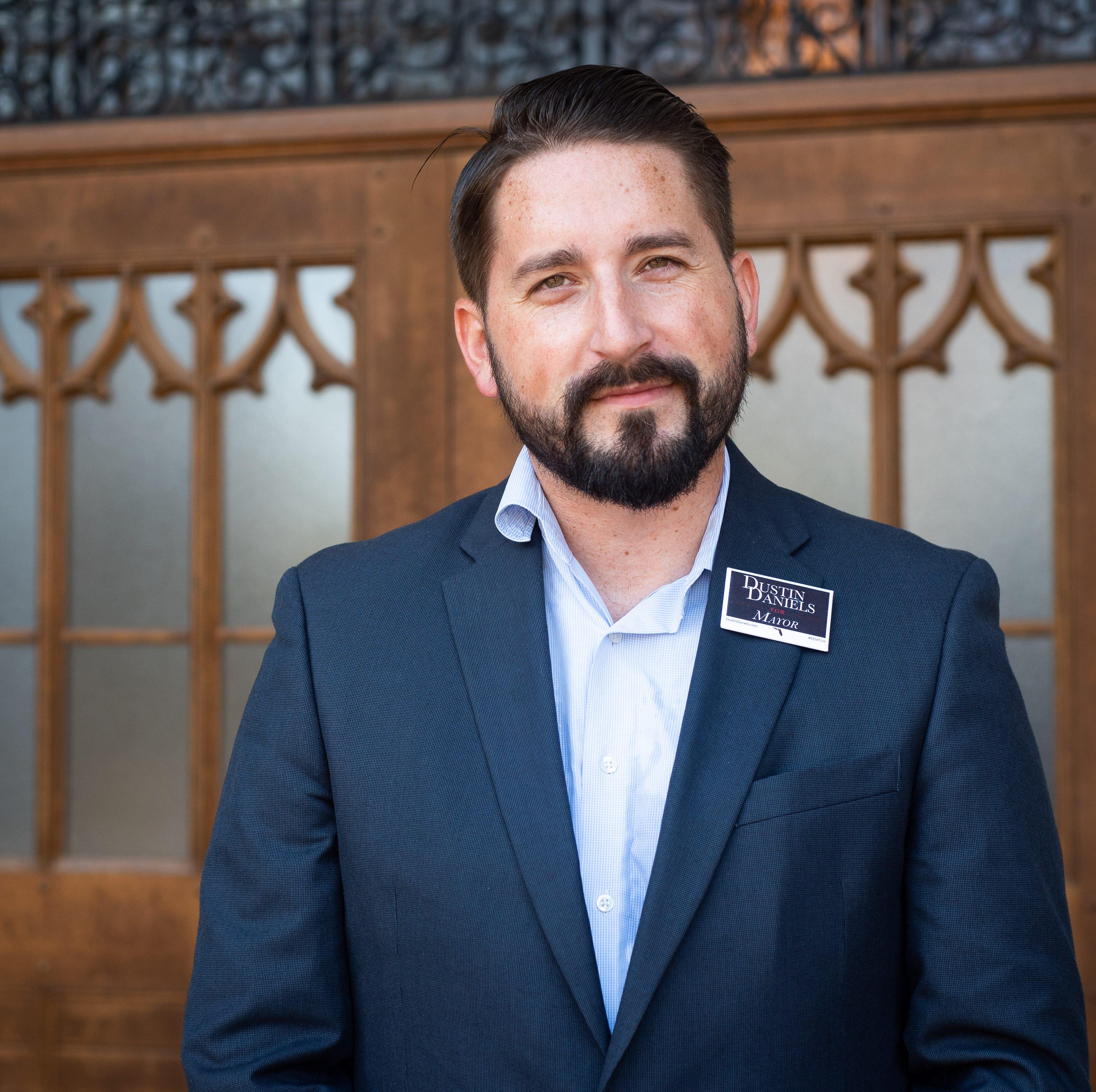 Mayoral candidate Dustin Daniels visits alma mater, discusses local politics