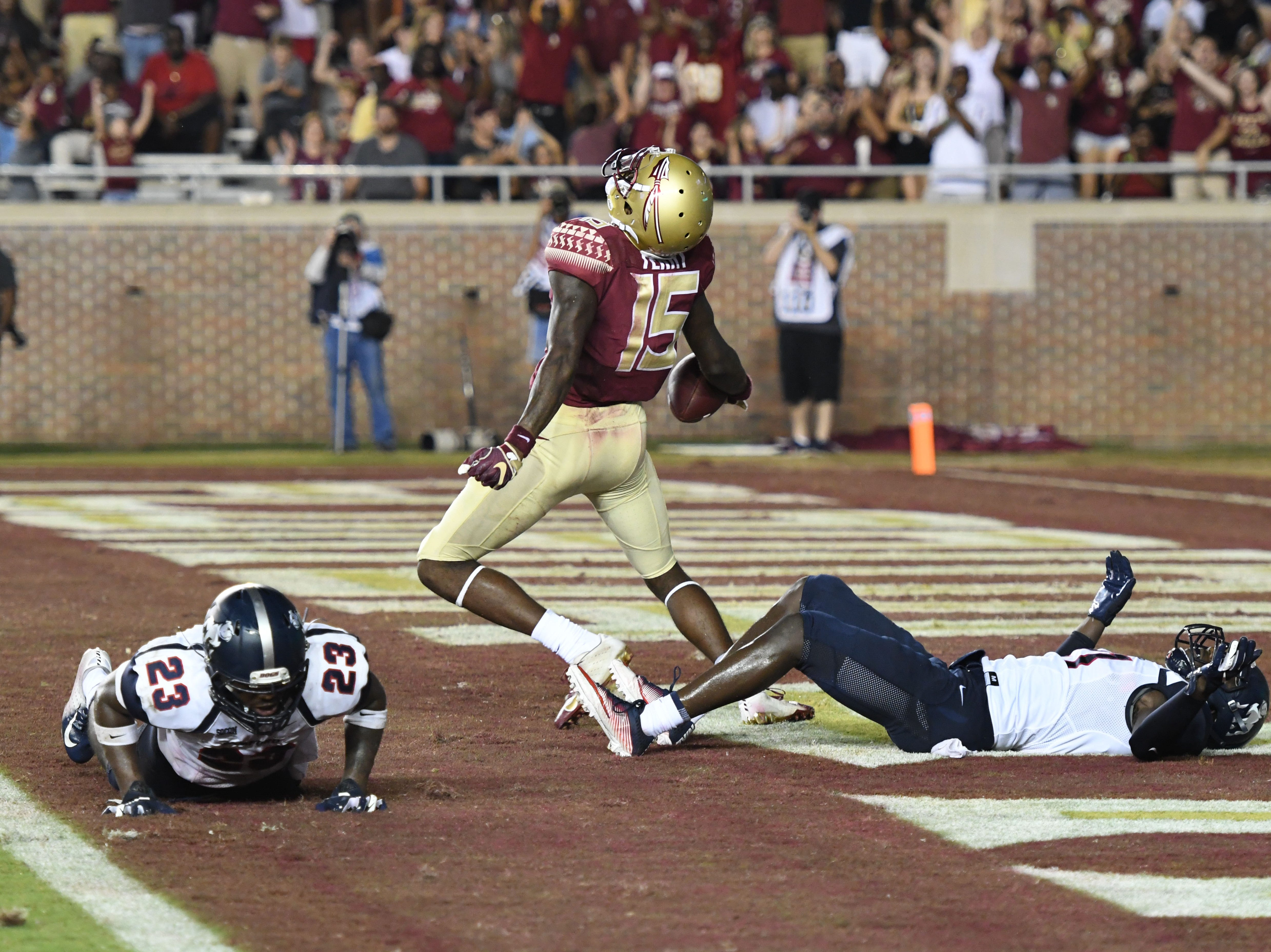 FSU redshirt freshman Tamorrion Terry (15) celebrating his second career touchdown in FSU's game against Samford on Saturday night at Doak Campbell Stadium.